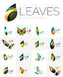 Abstract geometric leaves, company logo collection, nature icon set Stock Photography