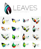 Abstract geometric leaves, company logo collection, nature icon set Royalty Free Stock Images