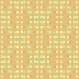 Regular squares pattern with wiggly lines beige ocher light brown pastel green blurred vertically. Abstract geometric light background vertically. Regular Stock Photo