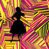 Abstract geometric line  seamless pattern with fashion woman silhouette. Royalty Free Stock Image