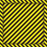Abstract geometric lines with diagonal black and yellow stripes. The square frame. Vector illustration Stock Photos