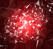 Abstract geometric, low polygon and circle connecting dots with lines. On dark color background, illustration Royalty Free Stock Image