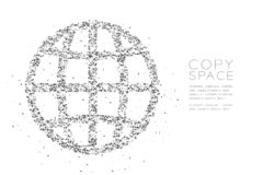 Abstract Geometric Low polygon square box pixel and Triangle pattern Network icon shape, concept design black color illustration. On white background with copy royalty free illustration