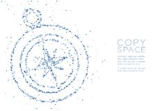 Abstract Geometric Low polygon square box pixel and Triangle pattern Compass shape, travel concept design blue color illustration. On white background with copy royalty free illustration