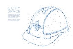 Abstract Geometric Low polygon square box pixel and Triangle pattern Helmet construction shape, safety first concept design blue c. Olor illustration on white Stock Photos