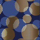 Abstract geometric luxury seamless pattern with round bouble ele. Ments. Geometry vector repeatable motif for fabric, background, wrapping paper. gold and blue Stock Photos