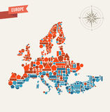 Abstract geometric map of Europe illustration Royalty Free Stock Images