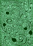 Green Labyrinth Snow Pattern Background. Abstract geometric maze with Christmas green background and snowy paths background. Curls and circles paths Stock Photography