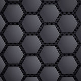 Abstract geometric metallic background. Carbon steel honeycomb o. N the grid. Stock  illustration Stock Image