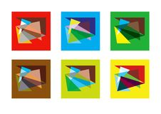 Abstract geometric modern versicolored combinations, flat background, vector set.  stock illustration
