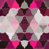 Abstract geometric mosaic background, continuous triangles print. Textile design in pink and orchid. Geometric mosaic background, continuous triangles print vector illustration