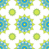 Abstract geometric mosaic background. Geometric seamless spirograph  pattern in blue and green colors. Vector illustration. Design Royalty Free Stock Photos