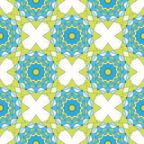 Abstract geometric mosaic background. Geometric seamless spirograph  pattern in blue and green colors. Vector illustration. Design Stock Images