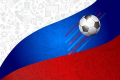 Football World Cup 2018 Russia Soccer flag. Football World Cup 2018 Russia Soccer Abstract sports, football, award symbols and russian folk art elements pattern Royalty Free Stock Photography