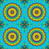 Seamless concentric circles pattern turquoise yellow orange. Abstract geometric multicolored background. Seamless regular concentric circles pattern yellow royalty free illustration