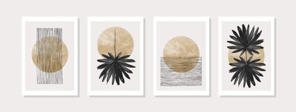 Free Abstract Geometric, Natural Shapes Poster Set In Mid Century Style Stock Photography - 214192112