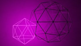 Abstract geometric neon shape connected with solid non-glowing one. Pink neon glowing geometric shape interconnected with non-glowing bigger one, 3D render stock illustration