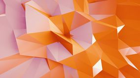 Abstract geometric orange gradient background colorful triangles morphing 3d animation loop. CGI motion design c4d render royalty free illustration