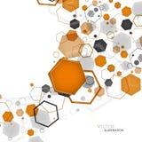 Abstract geometric orange hexagon background. Vector illustratio Royalty Free Stock Photo