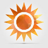 Abstract geometric orange sun from triangular faces for graphic Stock Photo
