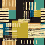 Abstract geometric ornament. Hand drawn uneven stripes on colorful rectangles, free layout. Tones of gold and tile on dark brown background. Textile design royalty free illustration