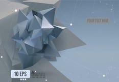 Abstract geometric paper shape on polygonal BG Stock Photo