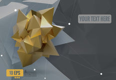 Abstract geometric paper shape on polygonal BG Stock Photos