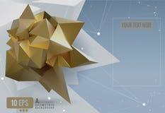 Abstract geometric paper shape on polygonal BG Royalty Free Stock Photos