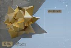 Abstract geometric paper shape on polygonal BG Royalty Free Stock Image