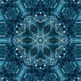 Abstract geometric pattern. Sacred fractal texture mandala design art blue green yellow photo manipulation background stock illustration