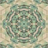 Abstract geometric pattern. Sacred fractal texture mandala design art blue green yellow photo manipulation background polygon vector illustration