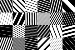 Abstract geometric pattern background with black and white striped squares Stock Photography