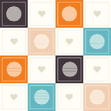 Abstract Geometric Pattern Background With Colorful Squares, Delicate Hearts And Circles. Abstract Geometric Pattern Background With Colorful Squares, Delicate vector illustration