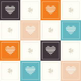 Abstract Geometric Pattern Background With Colorful Squares, Delicate Hearts And Three Leaf Clovers Stock Images