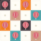 Abstract Geometric Pattern Background With Colorful Squares, Delicate Hot Air Balloons And Stars Royalty Free Stock Photography