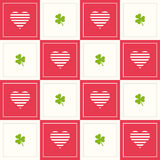 Abstract Geometric Pattern Background With Colorful Squares, Hearts And Three Leaf Clovers Stock Photo