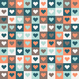 Abstract Geometric Pattern Background With Colorful Squares And Hearts Royalty Free Stock Photo