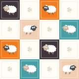 Abstract Geometric Pattern Background With Colorful Squares, Sheep And Three Leaf Clovers. Abstract Geometric Pattern Background With Colorful Squares, Funny vector illustration
