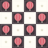 Abstract Geometric Pattern Background With Dreamy Hot Air Balloons And Stars vector illustration