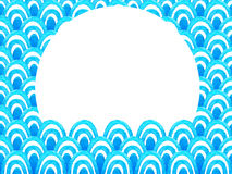Abstract geometric pattern with blue watercolor wave. Sea background.  Stock Photo