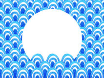 Abstract geometric pattern with blue watercolor wave. Sea background.  Royalty Free Stock Photos
