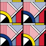 Abstract geometric pattern. Color abstract seamless geometric pattern with diagonal stripes and quadrants. Modular painting with four panels. Background in the Stock Images