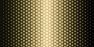 Abstract geometric pattern. Hipster fashion design print hexagonal pattern. Gold honeycombs on a black background. Vector. Stock Photo