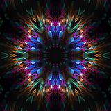 Abstract geometric pattern. Sacred fractal texture mandala design art blue green yellow photo manipulation background royalty free illustration