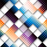 Abstract geometric pattern of squares with plaid Stock Images