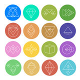 Abstract Geometric Patterns Set with Hipster Style Royalty Free Stock Image