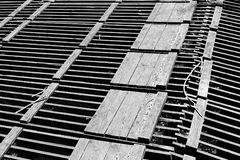 Abstract geometric patterns of wood grate Stock Photography