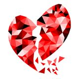 Abstract geometric Polygon broken heart valentine. Background Colorful mosaic Stock Photos