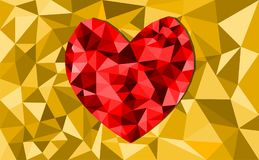 Abstract geometric Polygon heart valentine background. Colorful mosaic pattern Royalty Free Stock Images