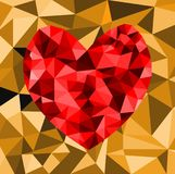 Abstract geometric Polygon heart valentine background. Colorful mosaic pattern Royalty Free Stock Image